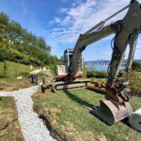 Drenajes en Donostia con excavadora